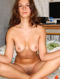 Inexperienced student posing undressed for fun